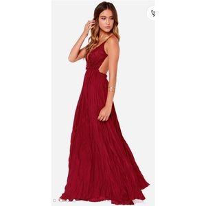 Lulu's Snowy Meadow Crocheted Wine Red Maxi Dress